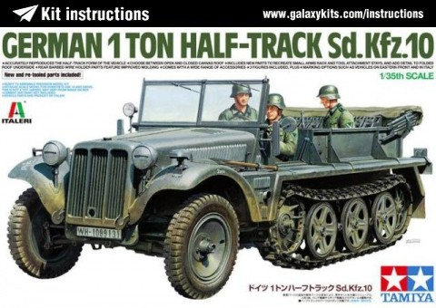 Box cover for Tamiya German 1T Half-Track Sd.Kfz 10 in 1:35 scale