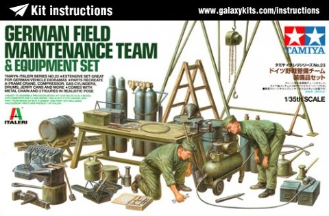 Box cover for Tamiya German Field Maintenance Team & Equipment Set in 1:35 scale