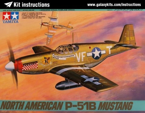 Box cover for Tamiya North American P-51B Mustang in 1:48 scale
