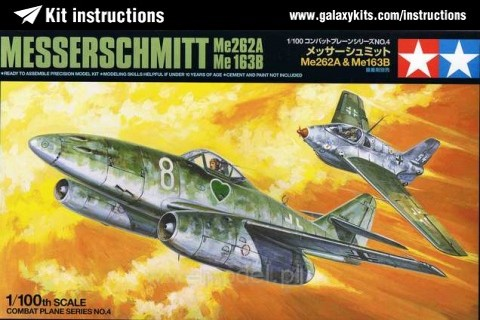 Box cover for Tamiya Messerschmitt Me262A & Me163B in 1:100 scale