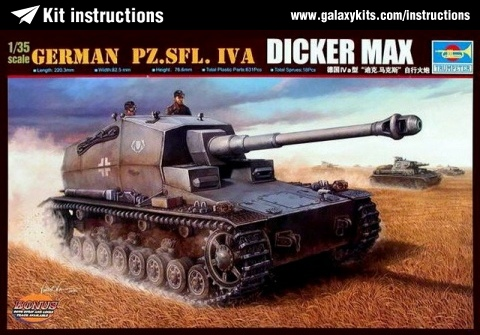 Box cover for Trumpeter German PZ.SFL. IV A Dicker Max in 1:35 scale