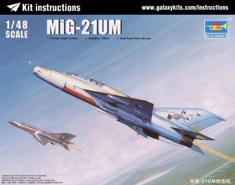 Box cover for Trumpeter MiG-21UM in 1:48 scale