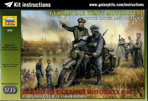 Box cover for Zvezda German R12 Heavy Motorcycle with Rider and Officer in 1:35 scale